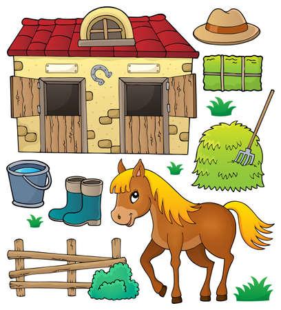 Caballo y objetos relacionados tema conjunto - eps10 ilustración vectorial. Foto de archivo - 82688504