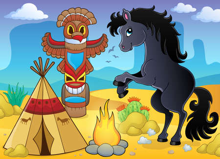 Horse in Native American campsite - eps10 vector illustration. Illustration