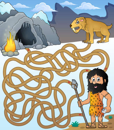 saber tooth: Maze 31 with prehistoric thematics - eps10 vector illustration.