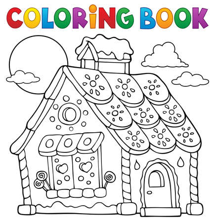 Coloring book gingerbread house theme 1 - eps10 vector illustration. Reklamní fotografie - 82689231