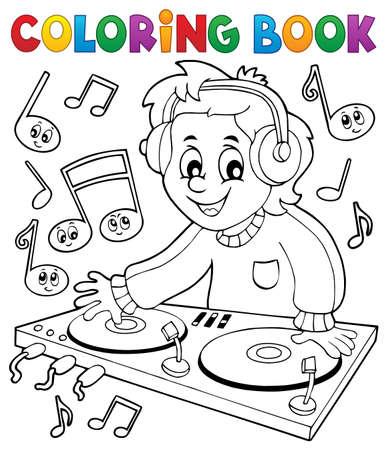 Coloring book DJ boy - eps10 vector illustration. Ilustrace