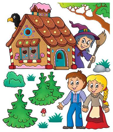 Hansel and Gretel theme set 1 - eps10 vector illustration. Illustration