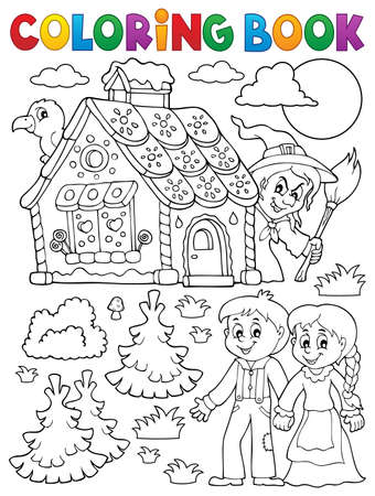 Coloring book Hansel and Gretel 1 - eps10 vector illustration. 免版税图像 - 82683233