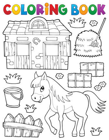Coloring book horse and related objects - eps10 vector illustration.