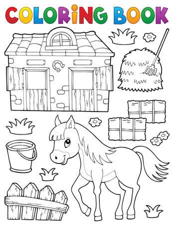 Libro para colorear caballo y objetos relacionados - eps10 ilustración vectorial. Foto de archivo - 82688701
