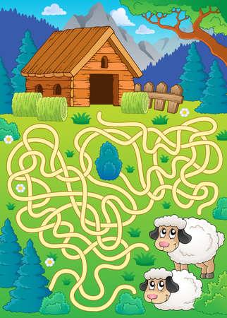 barn wood: Maze 30 with sheep theme - eps10 vector illustration.