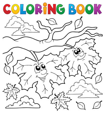 Coloring book happy autumn leaves - eps10 vector illustration.