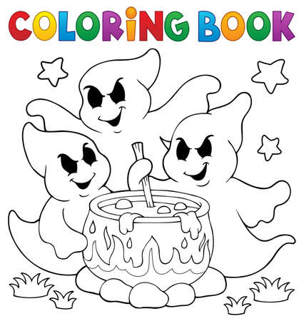 Coloring book ghosts stirring potion - eps10 vector illustration.