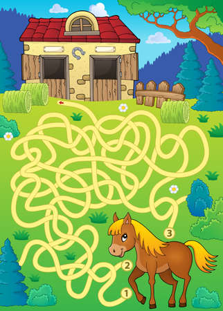 Doolhof 33 met paardthema - de vectorillustratie van eps10. Stockfoto - 83487006