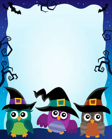 Halloween image with owls theme 2 - eps10 vector illustration.