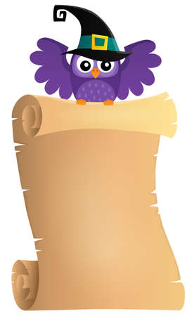 Halloween owl holding parchment theme 1 - eps10 vector illustration. Illustration