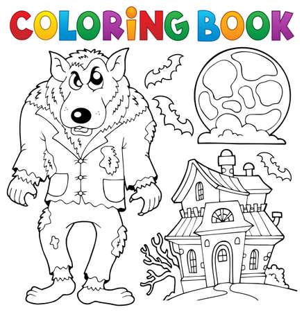 색칠하기 책 늑대 테마 -eps10 벡터 일러스트 레이 션.