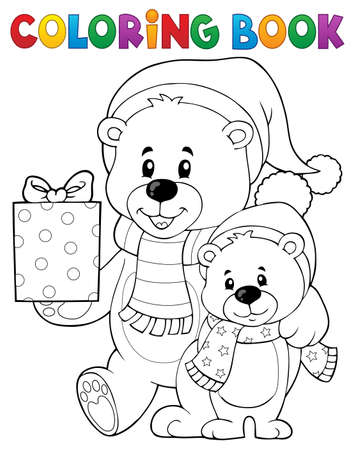 Coloring book Christmas bears theme 1 - eps10 vector illustration.