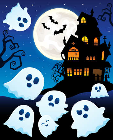 Ghosts near haunted house theme 6 - eps10 vector illustration.