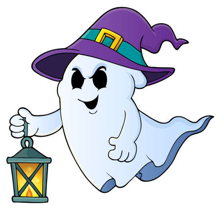 Ghost with hat and lantern theme 1 - eps10 vector illustration. Illustration