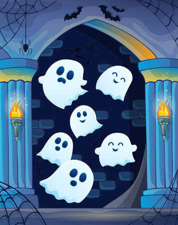 Ghosts in haunted castle theme 4 - eps10 vector illustration.