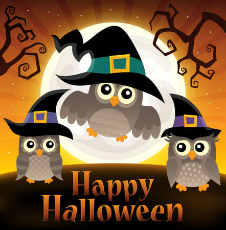 owl illustration: Happy Halloween sign with owls 2 - eps10 vector illustration.