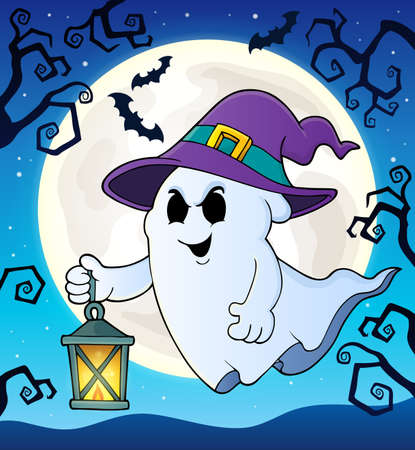 Ghost with hat and lantern theme 2 - eps10 vector illustration.