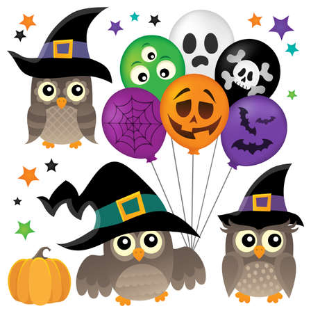 Halloween owls thematic collection 1.