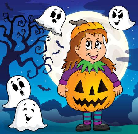 Girl in Halloween costume theme image 3.