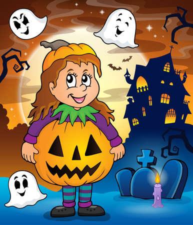 Girl in Halloween costume theme image 2. Illustration