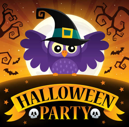 owl illustration: Halloween party sign composition image 3. Illustration