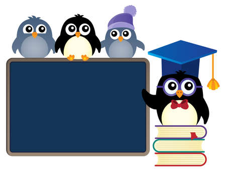 School penguins theme image 1 - eps10 vector illustration.