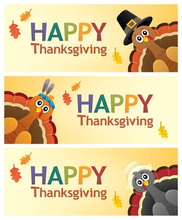 Happy Thanksgiving banners - eps10 vector illustration.