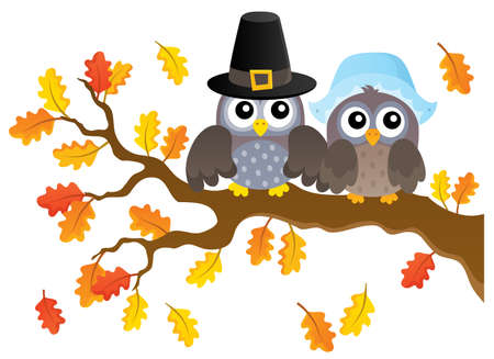 Thanksgiving owls thematic- eps10 vector illustration. Illustration