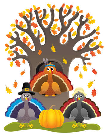 Thanksgiving turkeys - eps10 vector illustration.