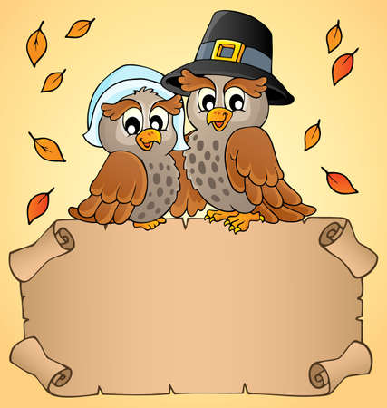 owl illustration: Thanksgiving parchment with happy owls - eps10 vector illustration.