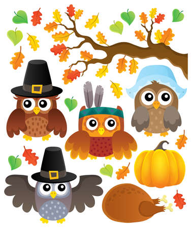 Thanksgiving owls thematic - eps10 vector illustration.