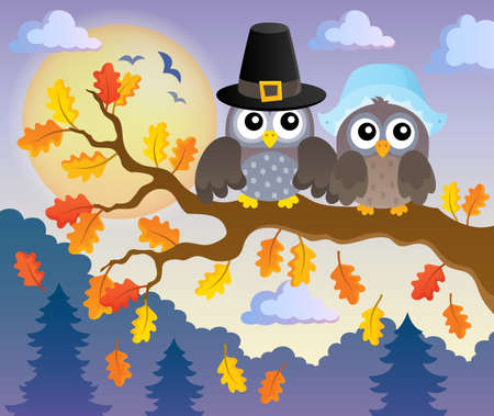 Thanksgiving owls thematic image - eps10 vector illustration. Illustration