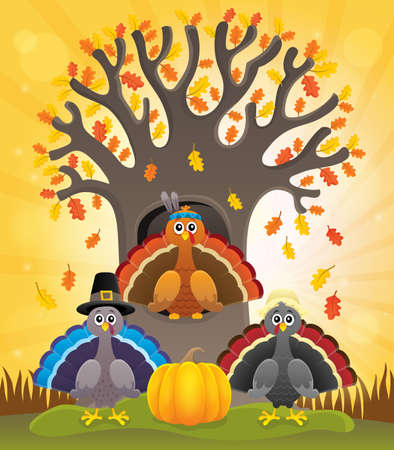 Thanksgiving turkeys thematic - eps10 vector illustration. Illustration