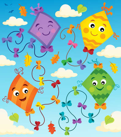 Happy flying kites thematic - eps10 vector illustration.