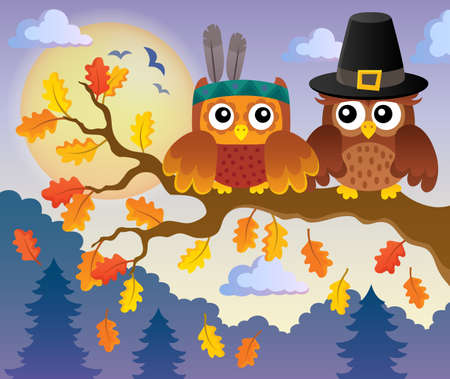 owl illustration: Thanksgiving owls thematic - eps10 vector illustration.