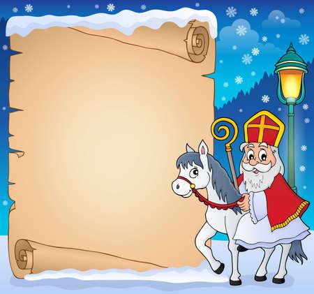 Pergamin z motywem Sinterklaas 4 - eps10 ilustracji wektorowych. Ilustracje wektorowe