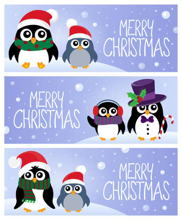 Merry Christmas topic banners 1 - eps10 vector illustration. Illustration