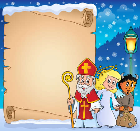 Saint Nicholas Day thematic parchment 3 - eps10 vector illustration. Ilustrace