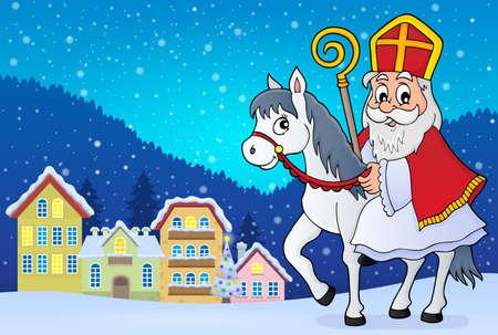 Sinterklaas on horse theme image 2 - eps10 vector illustration.