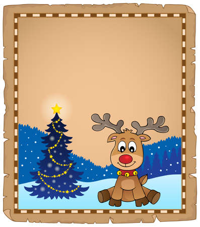 Christmas deer topic parchment 1 - eps10 vector illustration.
