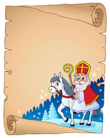 Parchment met Sinterklaas thema 2 - eps10 vector illustratie. Stock Illustratie