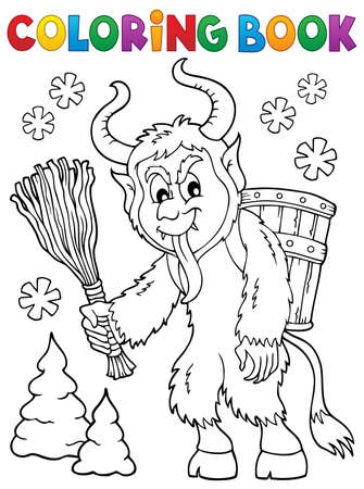 Coloring book Krampus theme 1 - eps10 vector illustration.