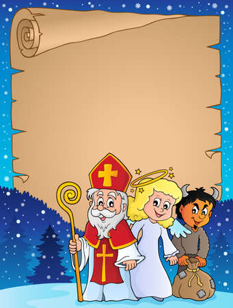 Saint Nicholas Day thematic parchment 1 - eps10 vector illustration.