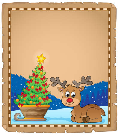 Christmas deer topic parchment 3 - eps10 vector illustration.