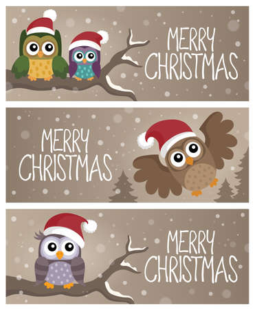 Merry Christmas topic banners 2 - eps10 vector illustration. Illustration