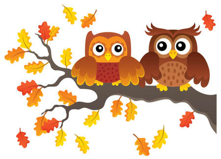 Autumn owls on branch theme image 1 - eps10 vector illustration.