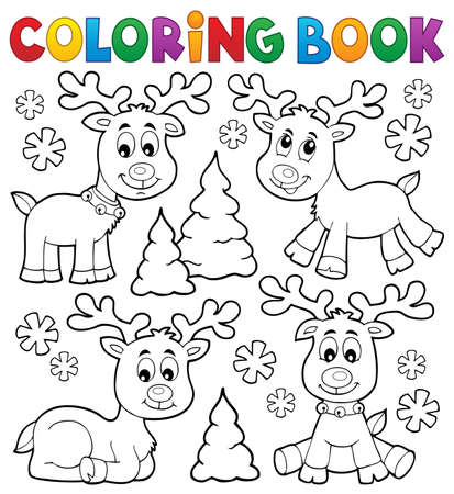 Coloring book Christmas deer topic 1 - eps10 vector illustration. Illustration