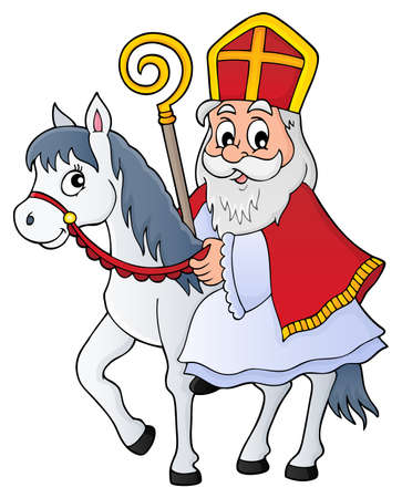 Sinterklaas on horse theme image 1 - eps10 vector illustration. Фото со стока - 87212147