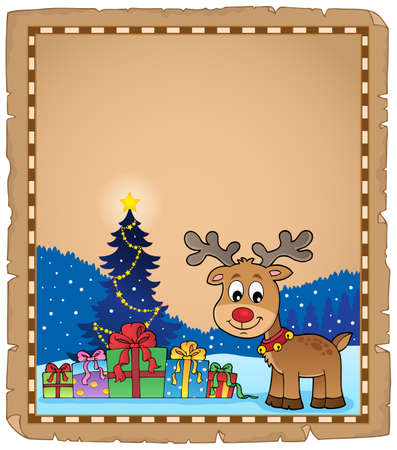 Christmas deer topic parchment 2 - eps10 vector illustration.